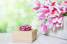 Gift Background with Flowers