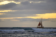 sailboat and waves