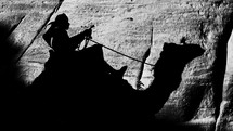 A shadow of a man riding a camel.