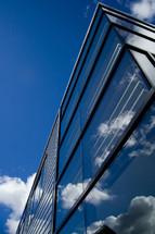 Sky reflection on office building