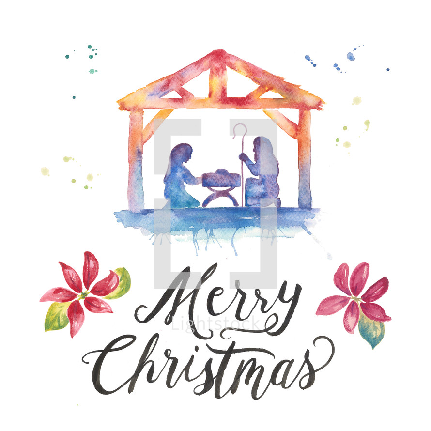 Merry Christmas hand lettering and Nativity water color holiday pack with