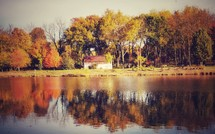 pond, barn, and fall trees