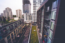 apartment balconies and rooftop greenway