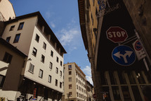 street signs and building in Rome