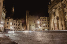 streaks of light through the streets of Italy at night