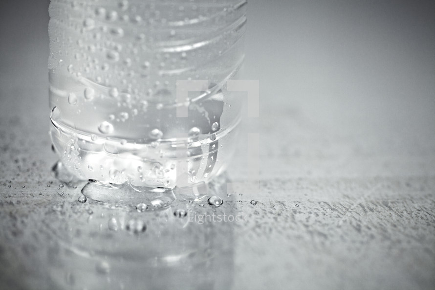 The lower half of a refreshing bottle of water