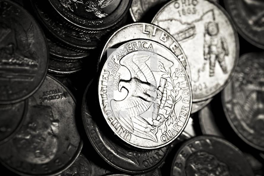 A closeup of a group of quarters