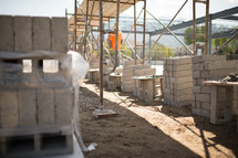 cinderblocks at a construction site