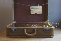 string of lights and photograph in a case