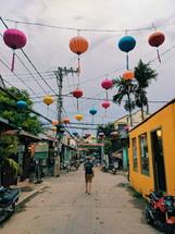 paper lanterns over a street