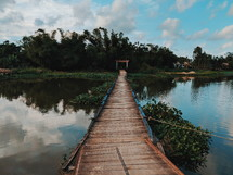 floating bridge over a lake