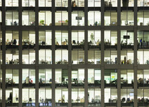 view inside of office building windows - editorial use only