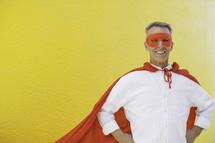 A Dad in a superhero cape