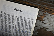 A bible opened to the book of Genesis