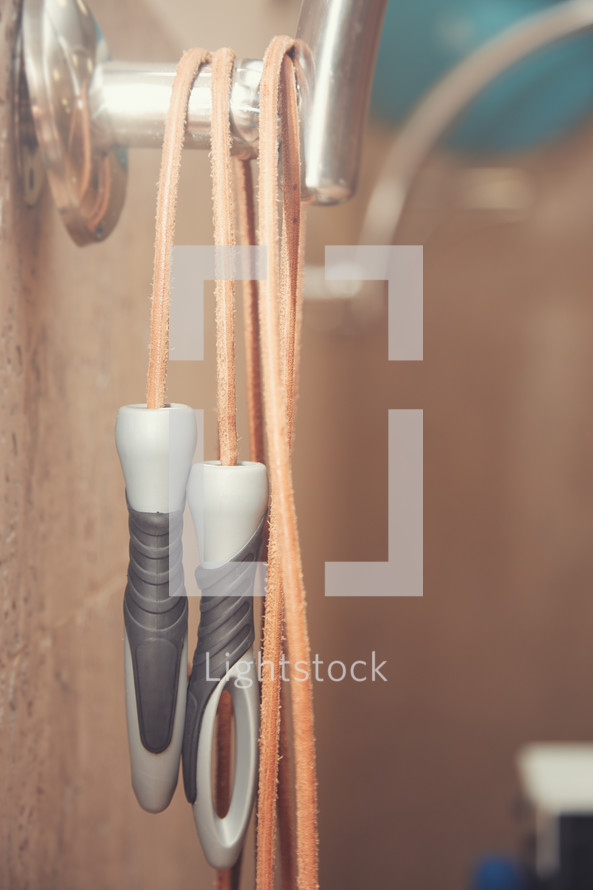 jump rope hanging on a hook