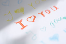 I love you in crayon