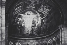 Image of Jesus on a cathedral dome fresca.