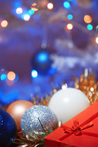 Christmas ornaments and red gift box