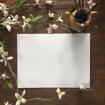 blank white paper and white flowers on vines