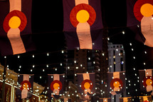 banners and strings of lights