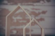 wooden house shaped blocks