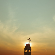 steeple at sunset