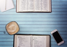 Bibles on a Wooden Table Set out for a Bible Study