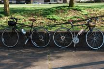 helmets on bicycle handlebars