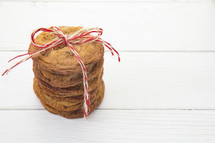 Stack of Chocolate Chip Cookies Wrapped with Twine