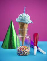 birthday cake ice cream and party hats