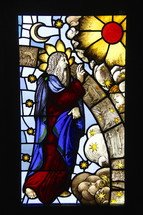 Stained Glass Window of the creation of heaven and earth