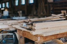 lumber in a workshop