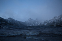 rough seas and mountain peaks