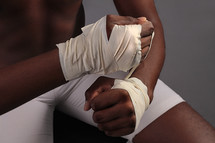 wrapped fists with tape
