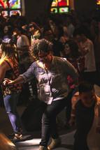 dancing in a church