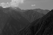 mountain peaks and sky