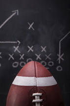 Football and plays on a chalkboard.
