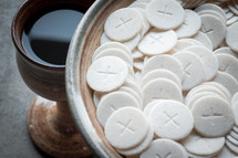 communion wine and wafers