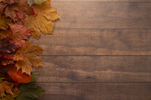 fall leaves on brown wood