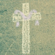 Lent Cross in sidewalk chalk