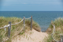 public access, path, fence, dunes, sea grasses, beach, sand, outdoors, coast