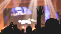 song and worship at a contemporary worship service
