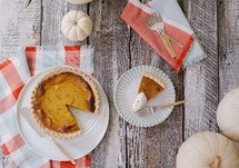 pumpkin pie on a table