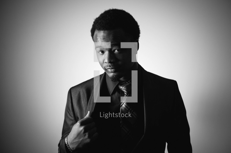 Portrait of an African American man in a suit and tie