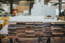 lumber in a workshop