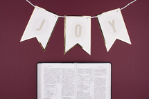 joy banner and open Bible on maroon background