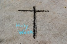 Holy Week sign with cross