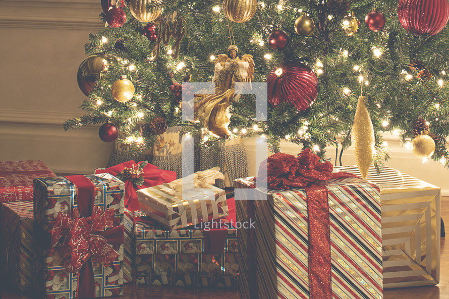 presents under a Christmas tree