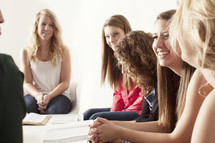 Group of young women gathered at a Bible study