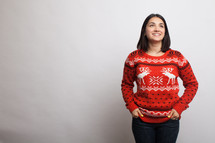 woman in an ugly Christmas sweater